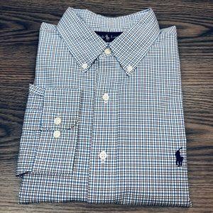 Polo Ralph Lauren White Blue Black Plaid Shirt XL